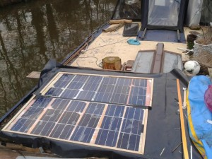 Handmade solar panel installed on the boat
